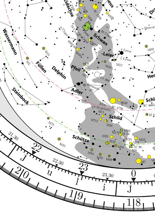 Drehbare Sternkarte kostenlos Planisphere for free mid-northern latitudes