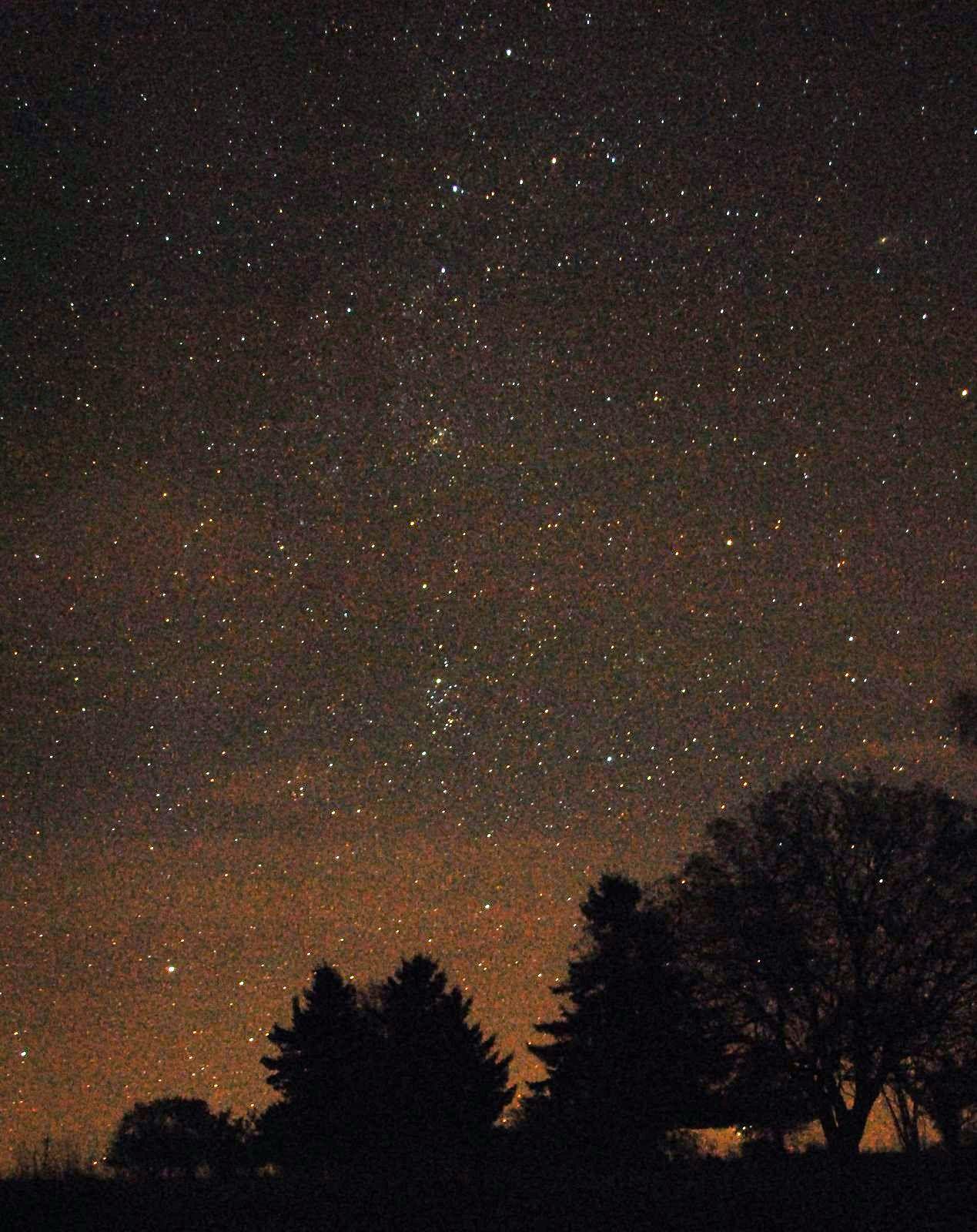 Stimmungsaufnahme Astronomie Deep-Sky aus der Hohen Rhön bzw Langen Rhön mit Bäumen und Horizont