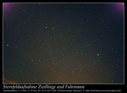 Sternfeldaufnahme Astrofoto Spessart Fuhrmann