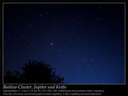 Beehive-Cluster, Jupiter und Krebs Aufnahmeort Schäbenhecken bei Lanzenhain Hoher Vogelsberg Deep-Sky, Astronomie und Astrofotografie im Hohen Vogelsberg