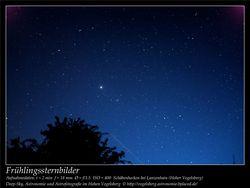 Frühlingssternbilder Aufnahmeort Schäbenhecken bei Lanzenhain Hoher Vogelsberg Deep-Sky, Astronomie und Astrofotografie im Hohen Vogelsberg