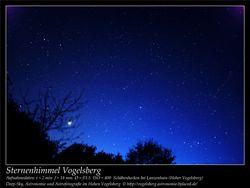 Sternenhimmel Vogelsberg Aufnahmeort Schäbenhecken bei Lanzenhain Hoher Vogelsberg Deep-Sky, Astronomie und Astrofotografie im Hohen Vogelsberg
