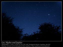 Leo, Hydra und Jupiter Aufnahmeort Totenköppel bei Meiches Vogelsberg Deep-Sky, Astronomie und Astrofotografie im Hohen Vogelsberg