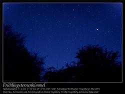 Frühlingsternenhimmel Aufnahmeort Totenköppel bei Meiches Vogelsberg Deep-Sky, Astronomie und Astrofotografie im Hohen Vogelsberg