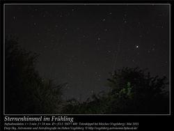 Sternenhimmel im Frühling Aufnahmeort Totenköppel bei Meiches Vogelsberg Deep-Sky, Astronomie und Astrofotografie im Hohen Vogelsberg