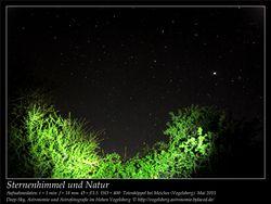 Sternenhimmel und Natur Aufnahmeort Totenköppel bei Meiches Vogelsberg Deep-Sky, Astronomie und Astrofotografie im Hohen Vogelsberg